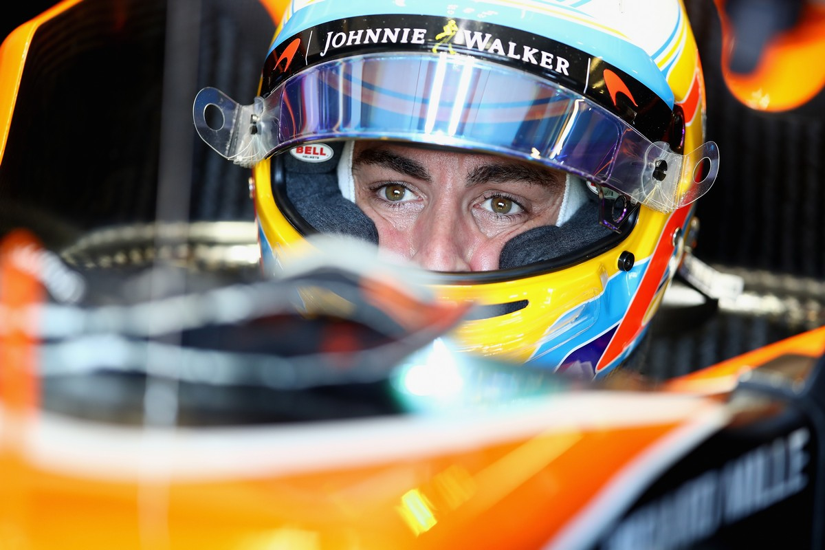 MELBOURNE, AUSTRALIA - MARCH 25:  Fernando Alonso of Spain and McLaren Honda sits in his car in the garage during final practice for the Australian Formula One Grand Prix at Albert Park on March 25, 2017 in Melbourne, Australia.  (Photo by Clive Mason/Getty Images)