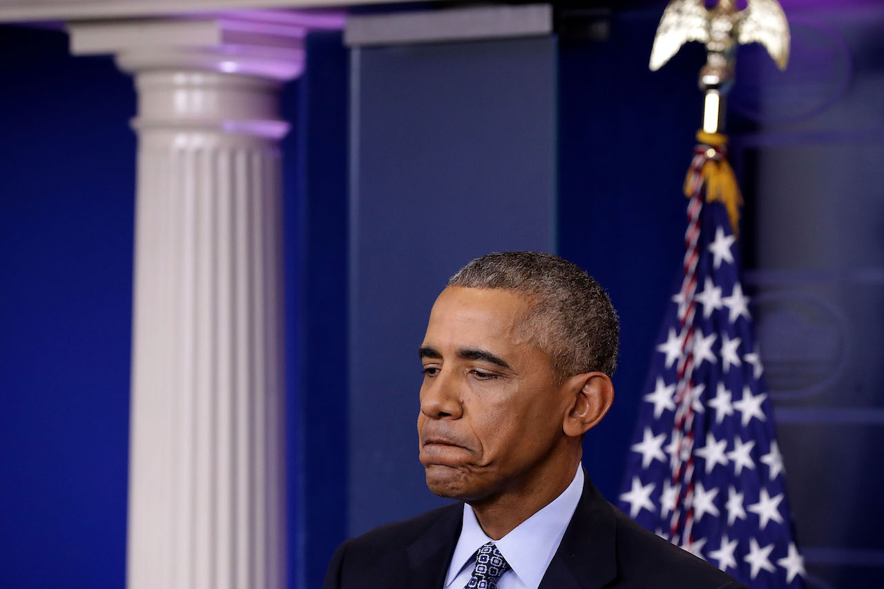 WASHINGTON, DC - JANUARY 18:  U.S. President Barack Obama holds the last news conference of his presidency in the Brady Press Briefing Room at the White House January 18, 2017 in Washington, DC. This was Obama's final question-and-answer session with reporters before New York real estate mogul and reality television personality Donald Trump is sworn in as the 45th president of the United States on Friday.  (Photo by Chip Somodevilla/Getty Images)