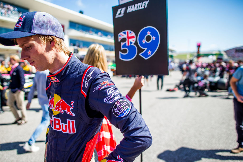 AUSTIN, TX - OCTOBER 22:  Brendon Hartley of Scuderia Toro Rosso and New Zealand  during the United States Formula One Grand Prix at Circuit of The Americas on October 22, 2017 in Austin, Texas.  (Photo by Peter Fox/Getty Images)