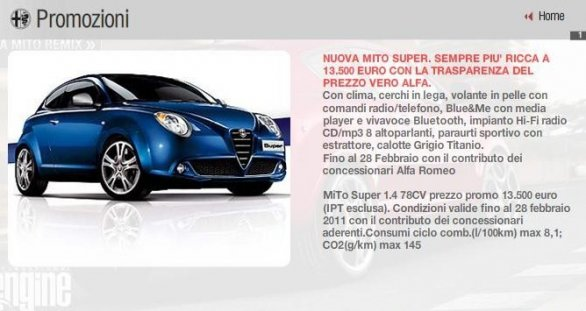 listino prezzi alfa romeo mito super. Black Bedroom Furniture Sets. Home Design Ideas