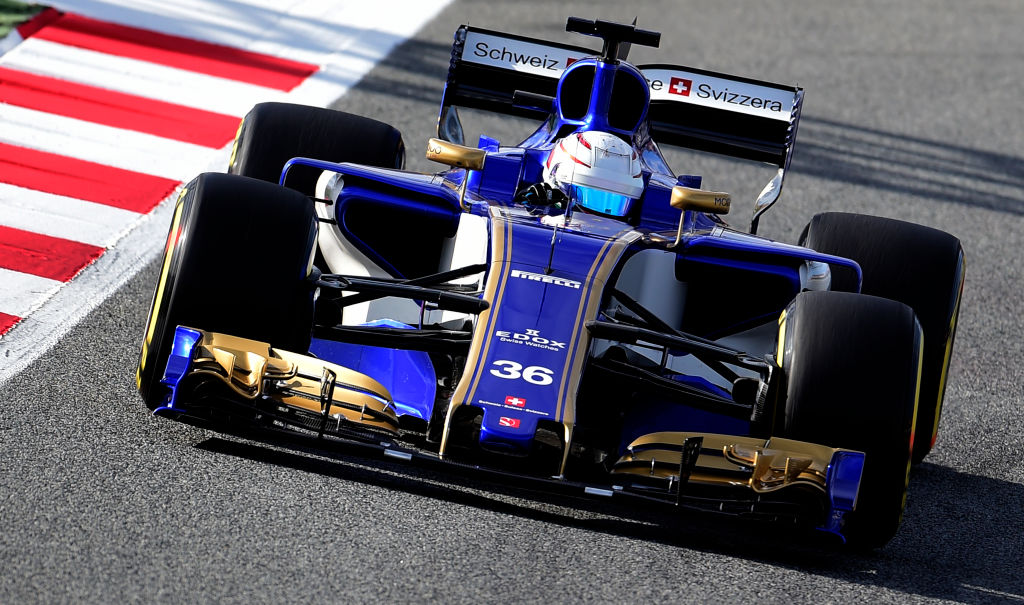 Sauber F1 Team's Italian driver Antonio Giovinazzi drives at the Circuit de Catalunya on February 28, 2017 in Montmelo on the outskirts of Barcelona during the second day of the first week of tests for the Formula One Grand Prix season.  / AFP / JOSE JORDAN        (Photo credit should read JOSE JORDAN/AFP/Getty Images)