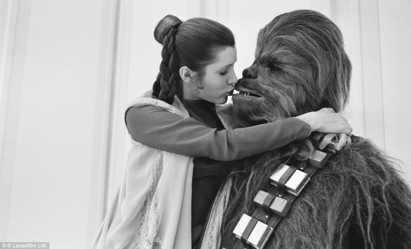 He's only a Wookie - Carrie Fisher and Peter Mayhew, who played the giant wookie character Chewbacca
