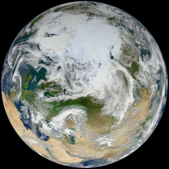 Blue Marble 2012 - \\\'White Marble\\\' Arctic View By NASA Goddard Photo and Video
