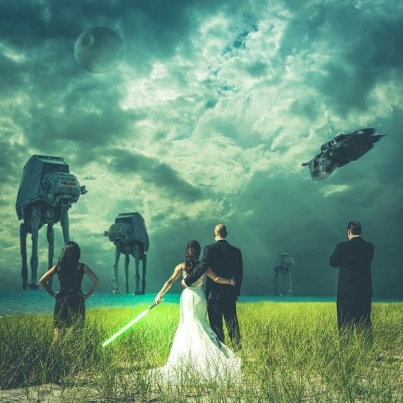 AT-AT and Snowspeeder Attack wedding by facebook Steven Kowalski Photography