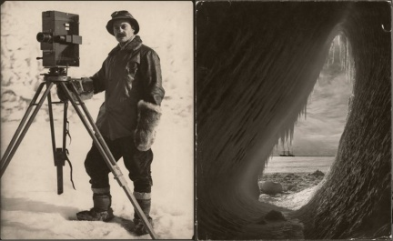 Herbert Ponting_Self Portrait with a Movie Camera+Grotto in an Iceberg_Robert Falcon Scott Expedition_Antartica_1911-1912_National Geographic Society_Steven Kasher Gallery
