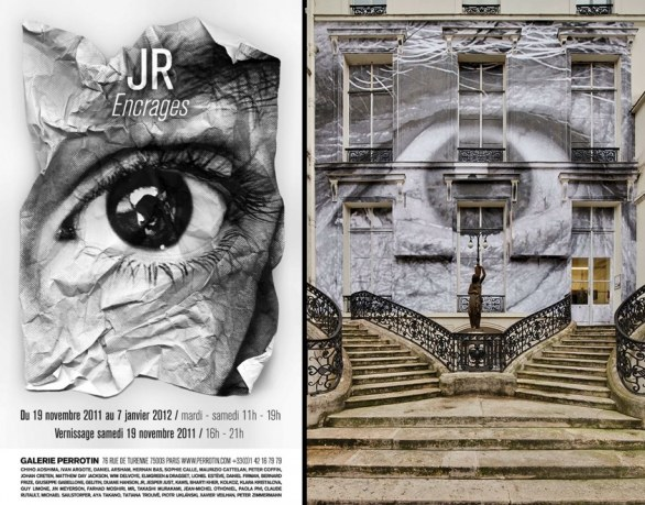 Jr Encrages Exhibition loc - The Wrinkles of the City, Los Angeles, Robert's eye», 2011 Simulation/ Facade of Galerie Perrotin, Paris