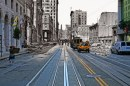 A cable car heads towards the California St incline while shocked residents walk aimlessly through street amidst the devastation. 2010 photo blend by Shawn Clover