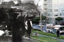 People walk up California St amid charred scraps of lumber. 2012 photo blend by Shawn Clover