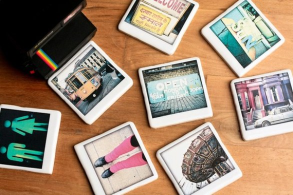 Polaroid Ceramic Coaster - Pink Leg Warmers by Parul Arora