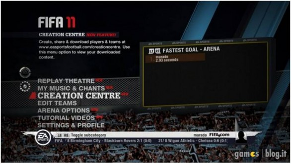 FIFA 11: immagini del Creation Center