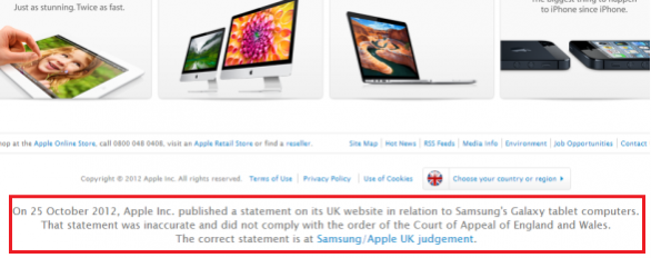 """Samsung non ci ha copiato"": Apple riscrive il messaggio su apple.co.uk"
