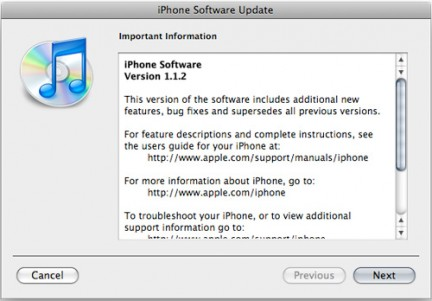 Arriva il firmware 1.1.2, per iPhone e iPod touch