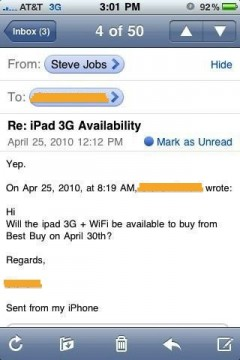 Mail di Steve Jobs su iPad Wifi 3G, disponibile il 30 aprile a Best Buy