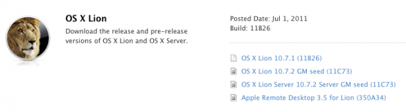 Mac OS X 10.7.2 golden master