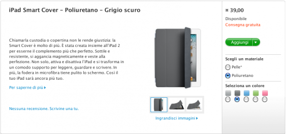 smart cover iPad 2 grigio scuro