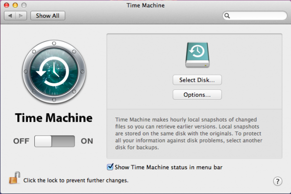 Time Machine in Lion
