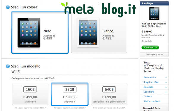 iPAd Retina in consegna immediata sull'Apple Store