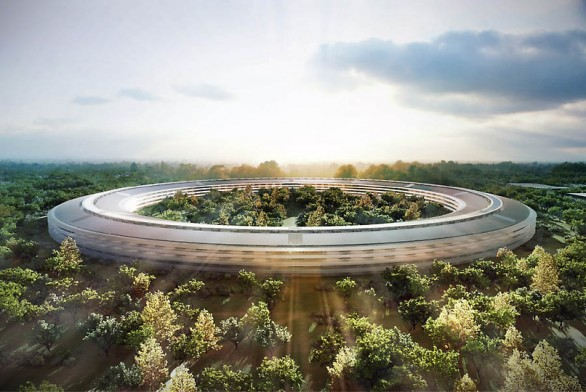 Rendering del Campus Apple astronave a Cupertino