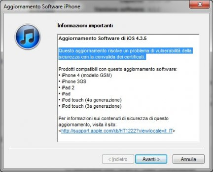 Apple pubblica iOS 4.3.5