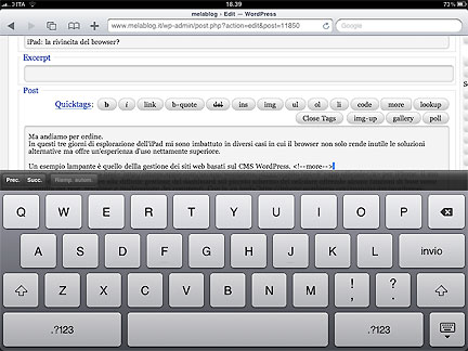 interfaccia di WordPress vista da iPad
