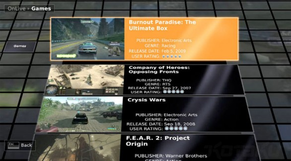 onlive gaming on demand streaming