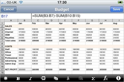 Spreadsheet per iPhone