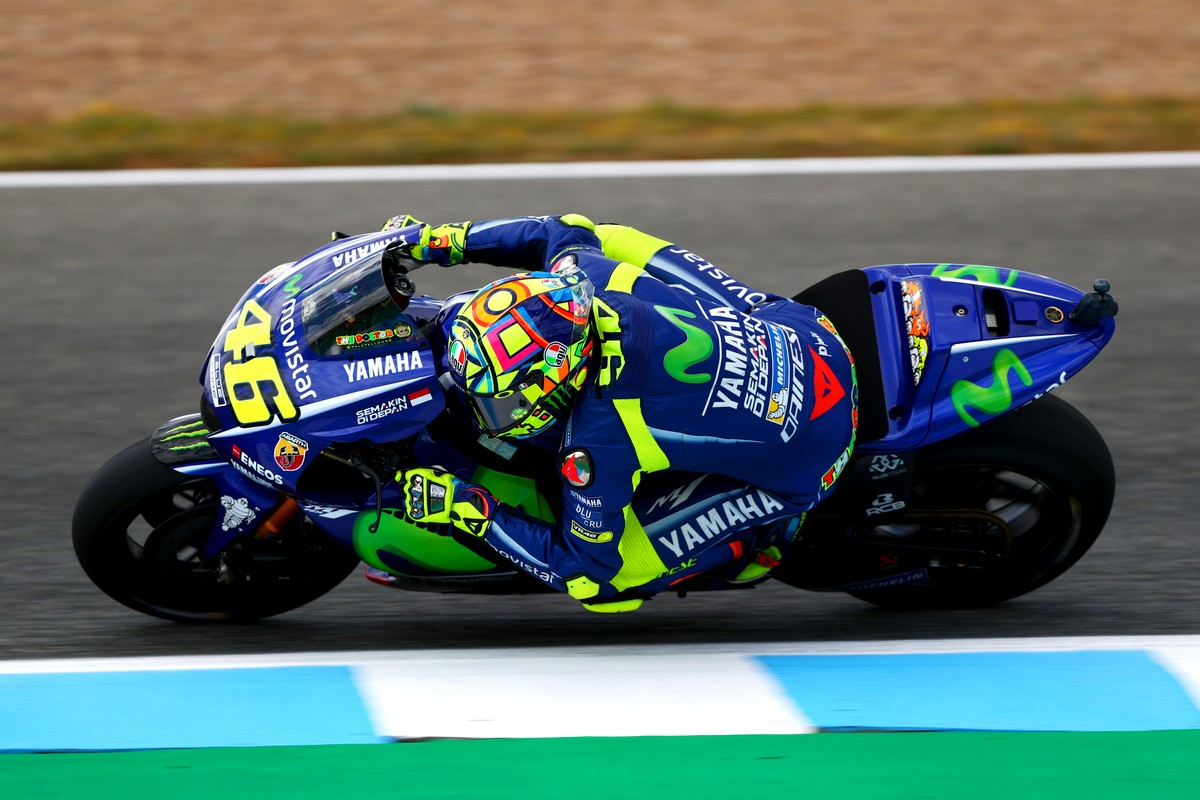 JEREZ DE LA FRONTERA, SPAIN - MAY 05:  Valentino Rossi of Italy and Movistar Yamaha MotoGP rides during free practice for the MotoGP of Spain at Circuito de Jerez on May 5, 2017 in Jerez de la Frontera, Spain.  (Photo by Dan Istitene/Getty Images)
