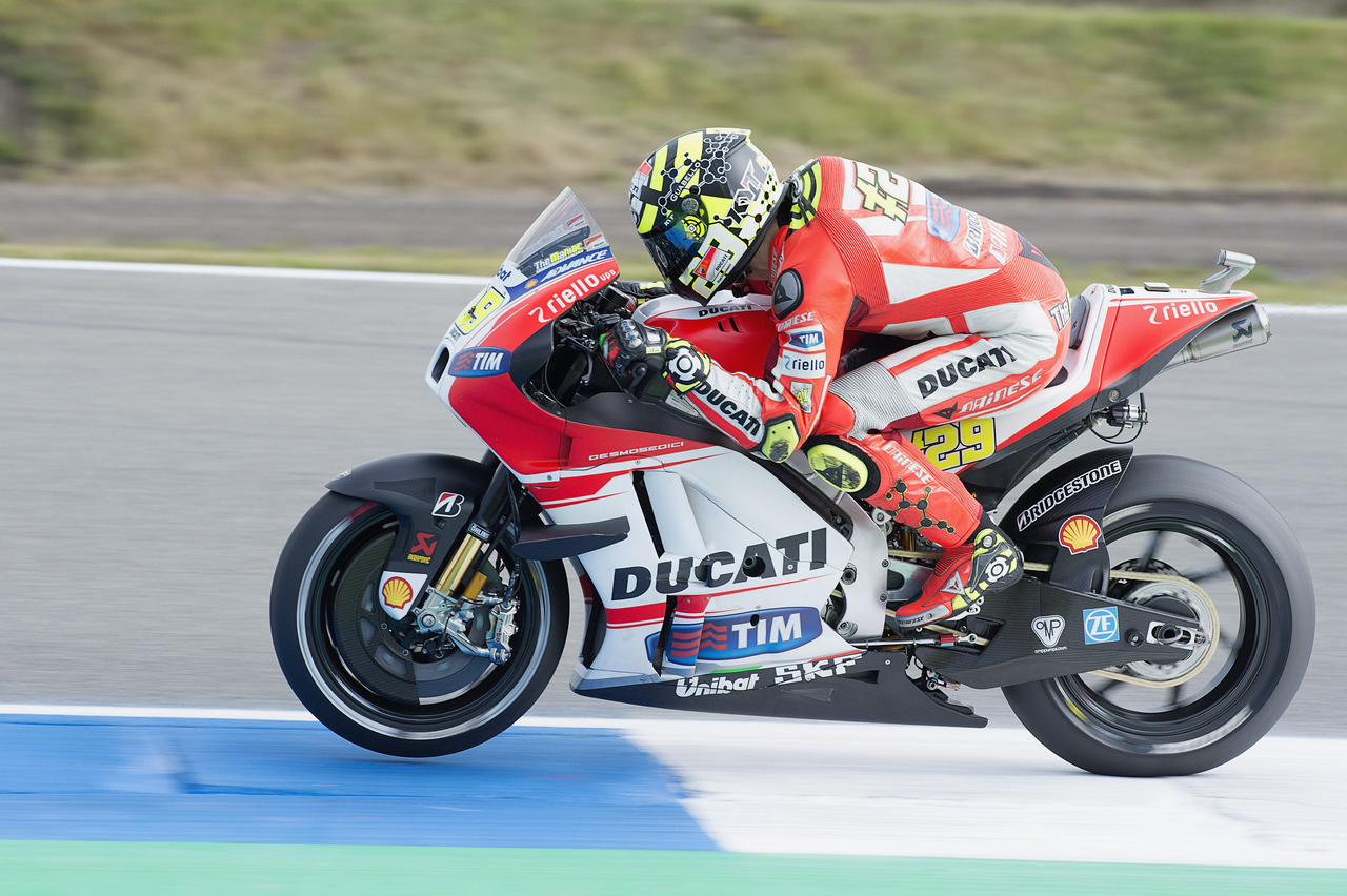 ASSEN, NETHERLANDS - JUNE 25: Andrea Iannone of Italy and Ducati Team heads down a straight during the MotoGP Netherlands - Free Practice at on June 25, 2015 in Assen, Netherlands. (Photo by Mirco Lazzari gp/Getty Images)