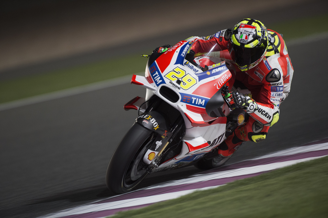 DOHA, QATAR - MARCH 18:  Andrea Iannone of Italy and Ducati Team rounds the bend during the MotoGp of Qatar - Free Practice at Losail Circuit on March 18, 2016 in Doha, Qatar.  (Photo by Mirco Lazzari gp/Getty Images)