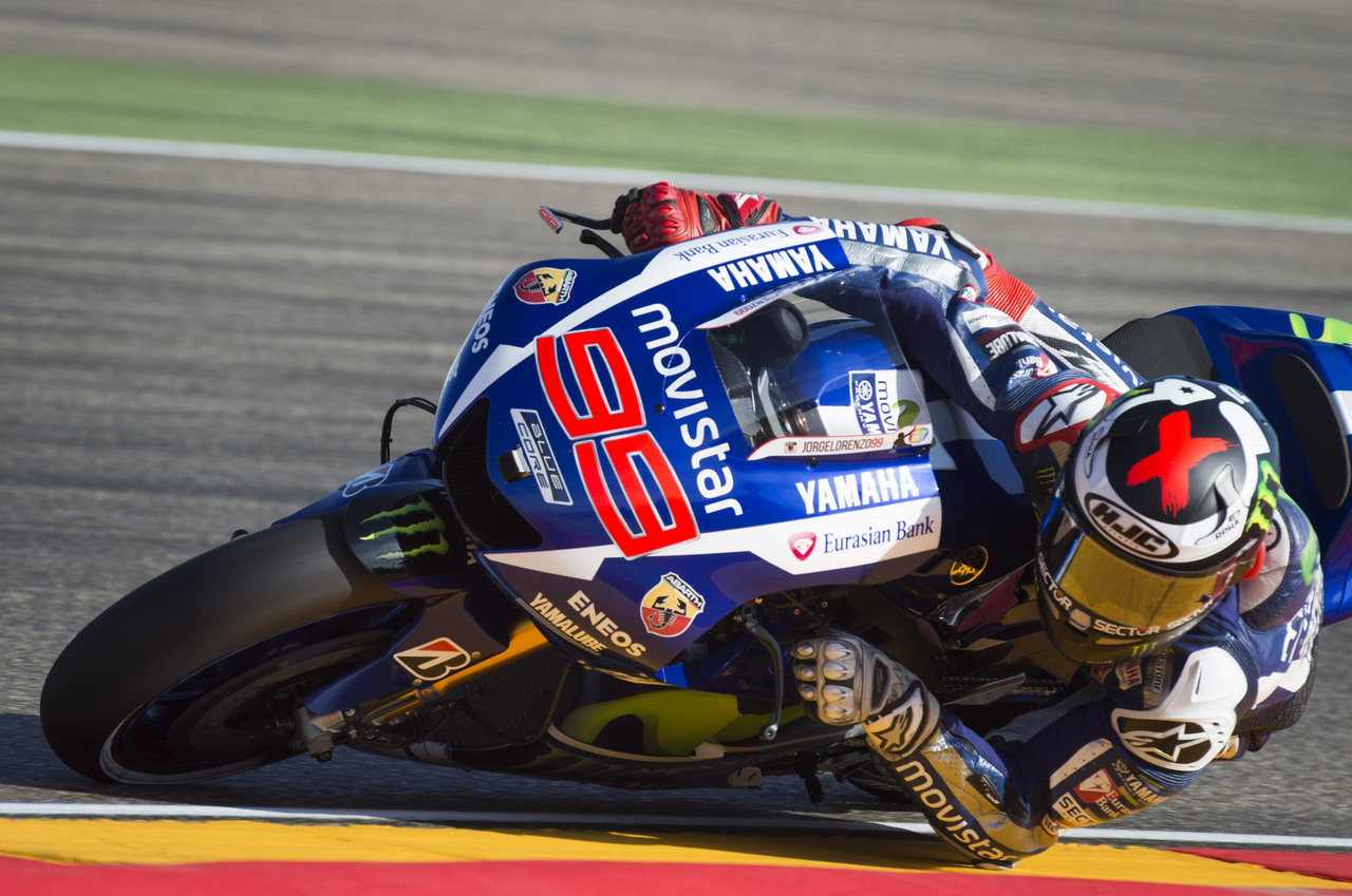 Yamaha Team's Spanish rider Jorge Lorenzo rides during the first MotoGP free practice session ahead of the Aragon Grand Prix at the Motorland racetrack in Alcaniz on September 25, 2015. AFP PHOTO/ JAIME REINA        (Photo credit should read JAIME REINA/AFP/Getty Images)