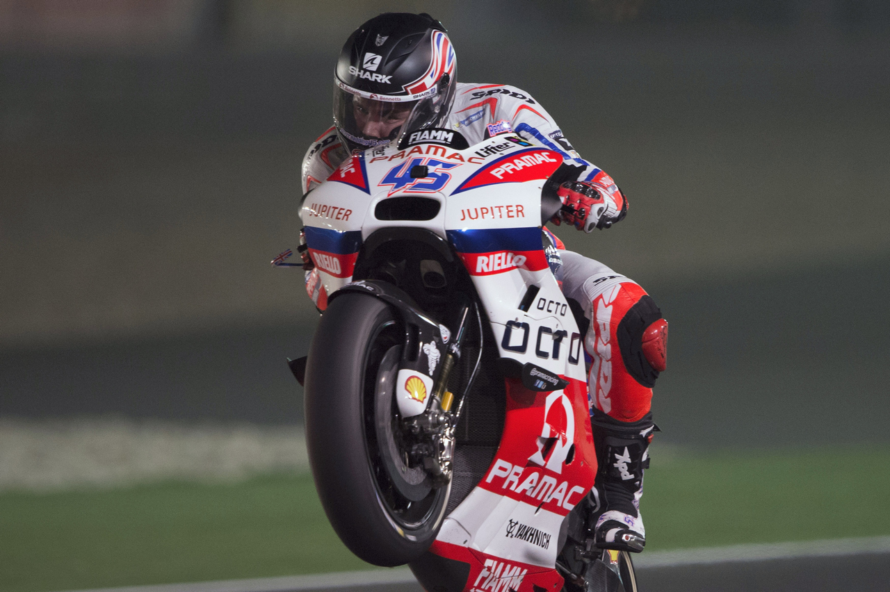 DOHA, QATAR - MARCH 17:  Scott Redding of Great Britain and Octo Pramac Racing  lifts the front wheel during the MotoGp of Qatar - Free Practice at Losail Circuit on March 17, 2016 in Doha, Qatar.  (Photo by Mirco Lazzari gp/Getty Images)