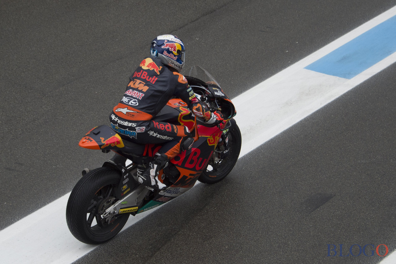 ASSEN, NETHERLANDS - JUNE 24:   Miguel Oliveira of Portugal and Red Bull KTM Ajo returns in box during the MotoGP Netherlands - Qualifying on June 24, 2017 in Assen, Netherlands.  (Photo by Mirco Lazzari gp/Getty Images)
