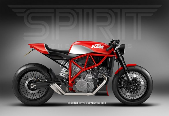 Una cafe racer con motore KTM LC8 disegnata dall�officina inglese Spirit of the Seventies