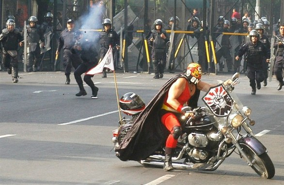 Luchador motorcycle protest