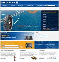 Homepage sito Metzeler